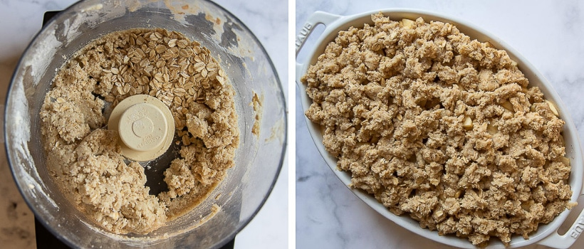 images showing how to make topping for gluten free apple crisp