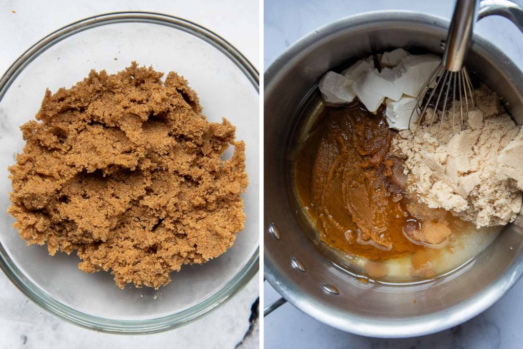 images showing how to make streusel topping and gluten free pumpkin bread recipe