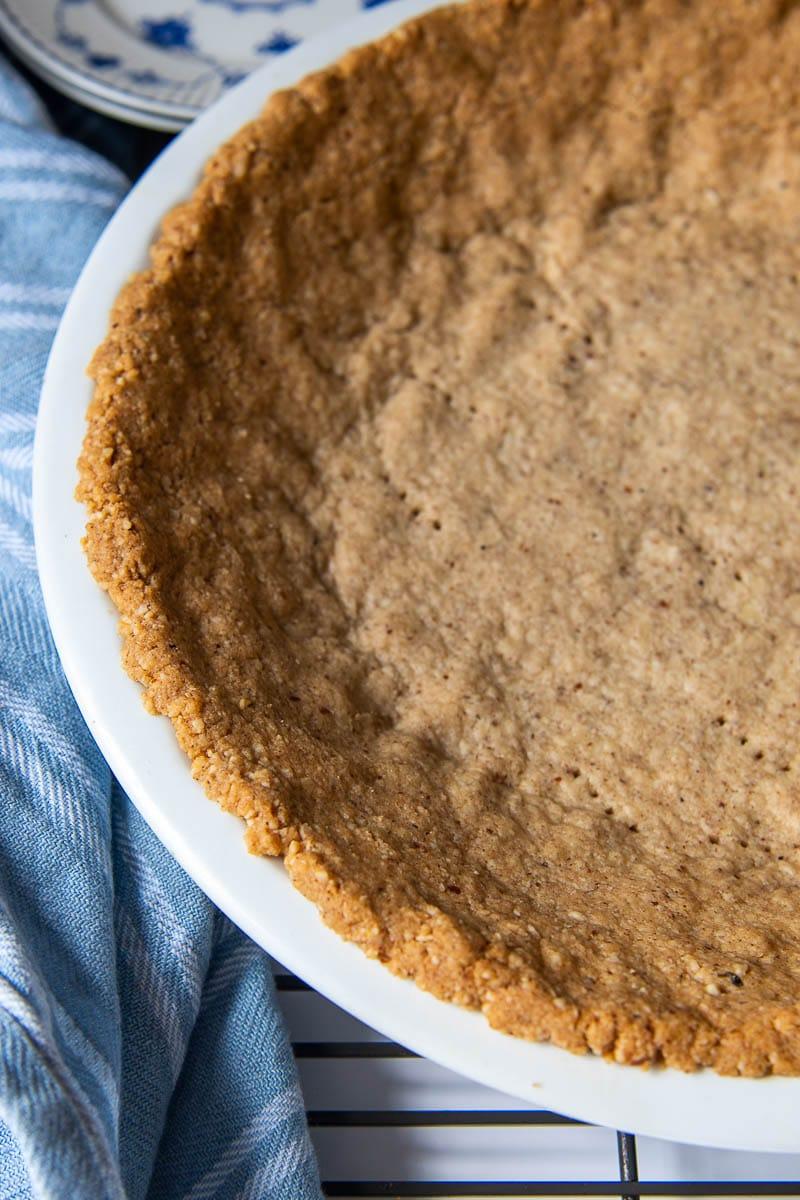 close up of pecan nut crust edge