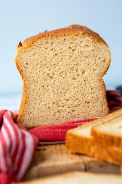 the inside of gluten free bread facing camera