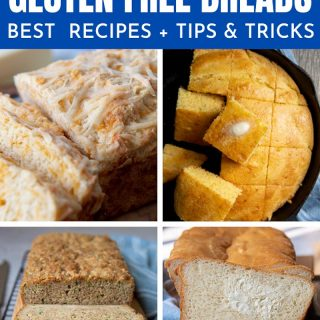 collage of images showing different gluten free breads