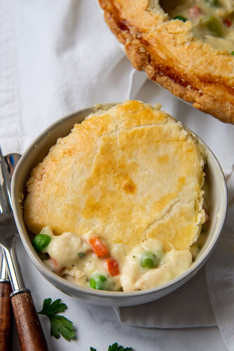 a serving of chicken pot pie in a bowl with crust on top