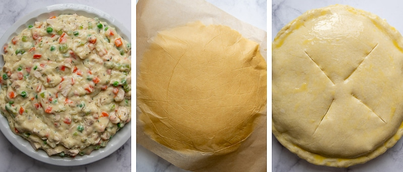 images showing how to assemble a gluten free chicken pot pie