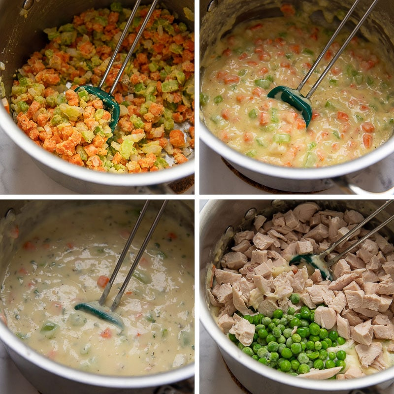 images showing how to make the filling for a gluten free chicken pot pie