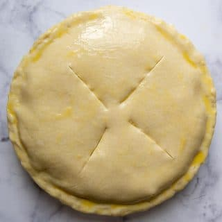 gluten free pie crust over the filling and brushed with egg wash
