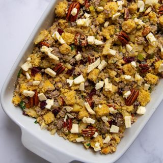 cornbread stuffing before being baked in a dish