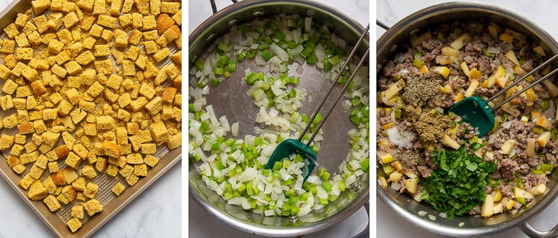 more images showing how to make gluten free cornbread stuffing
