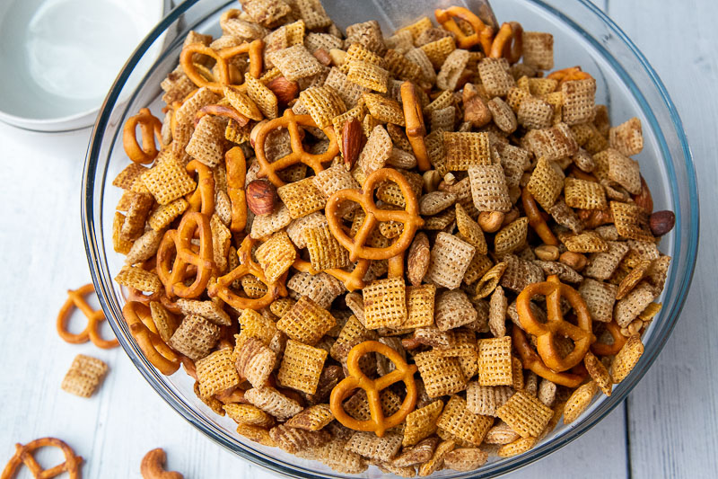 overhead close up of gluten free chex mix