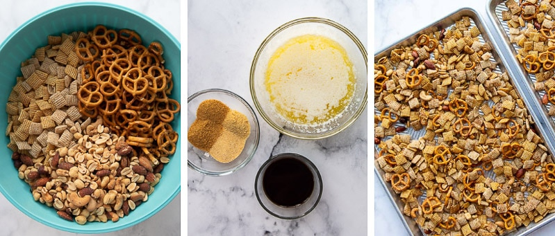 images showing how to make gluten free chex mix