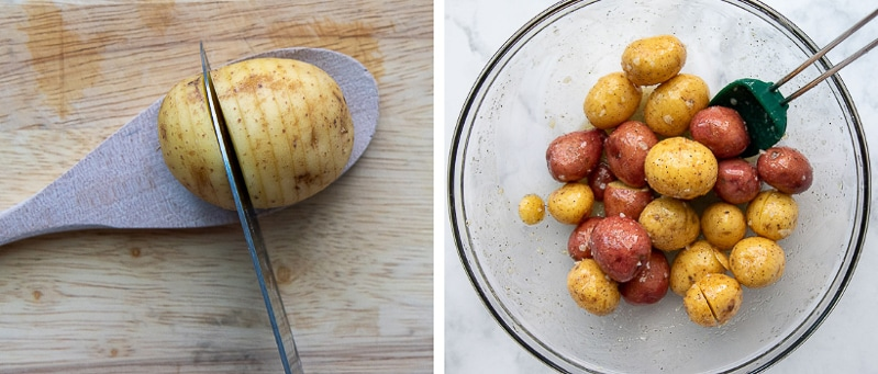 images showing how to cut mini hasselback potatoes and toss them with garlic butter