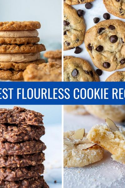 4 different images of cookies made with no flour