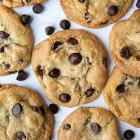 overhead shot of gluten free chocolate chip cookies on a white background laying flat