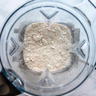 overhead shot of oat flour in a blender
