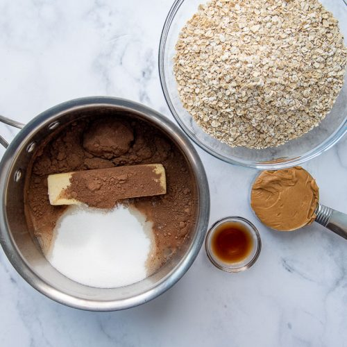overhead shot of all the ingredients for gluten free no bake cookies