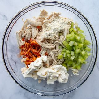 all the ingredient for buffalo chicken topping