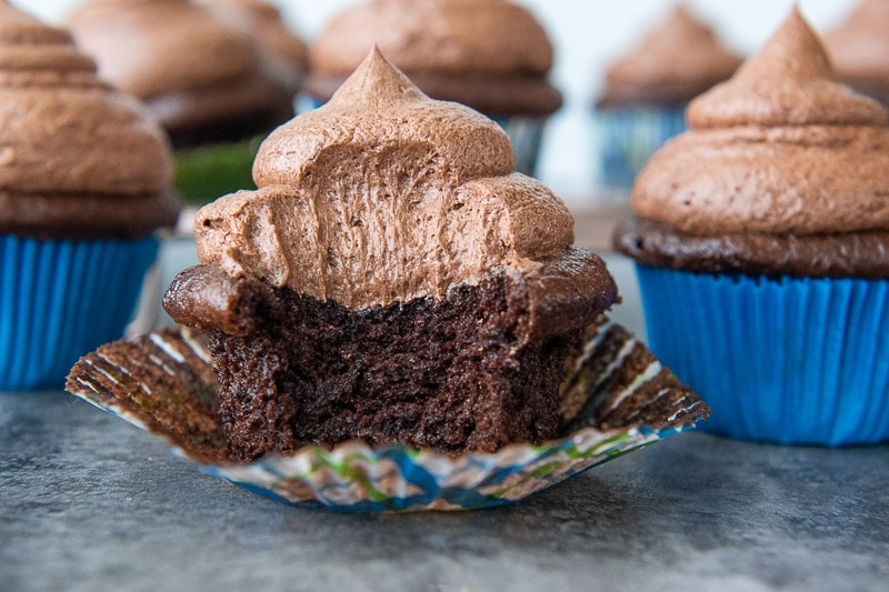 a chocolate cupcake facing straight on with a bite taken out