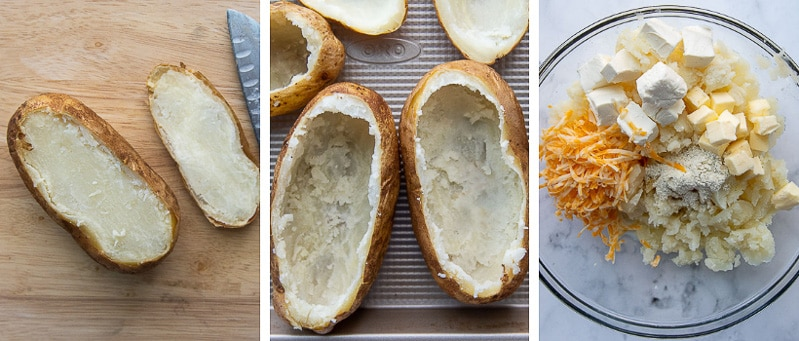 images showing how to make twice baked potatoes with ranch filling