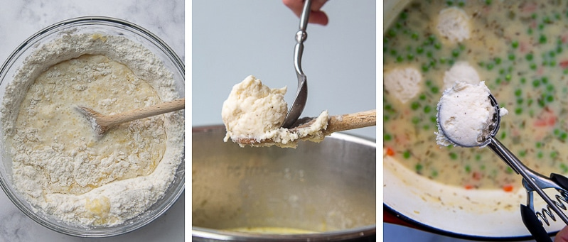 images showing how to make dumplings and put them in soup