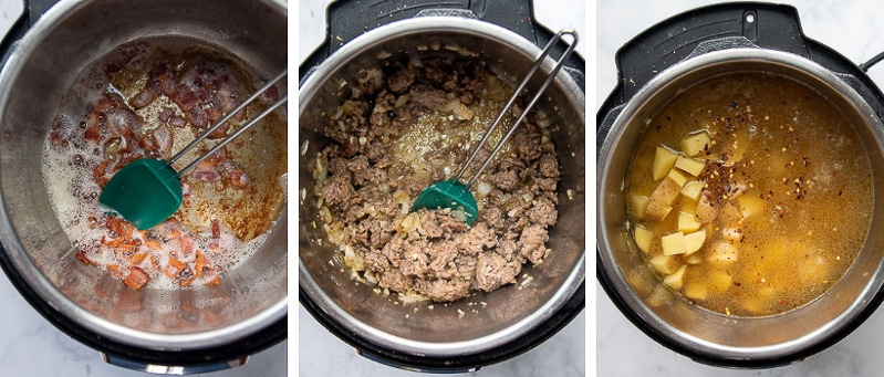 more images showing how to make zuppa toscana in an instant pot