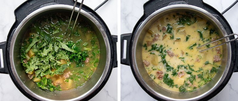 images showing how to make zuppa toscana in an instant pot