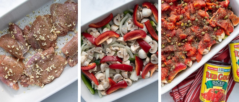 images showing how to make baked chicken cacciatore