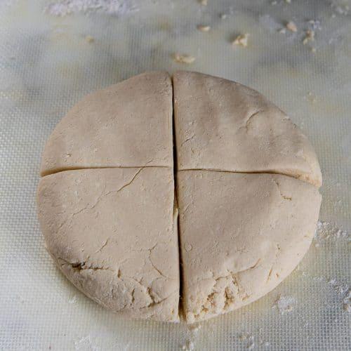 dough cut in 4 pieces