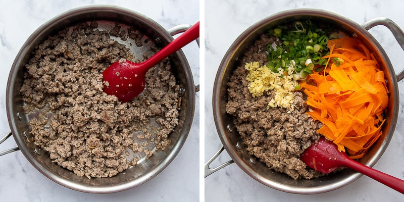 images showing how to make unstuffed egg rolls