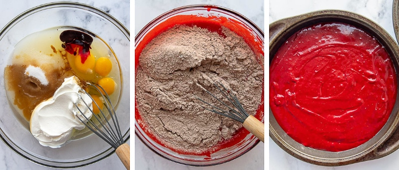 images showing how to make gluten free red velvet cake recipe
