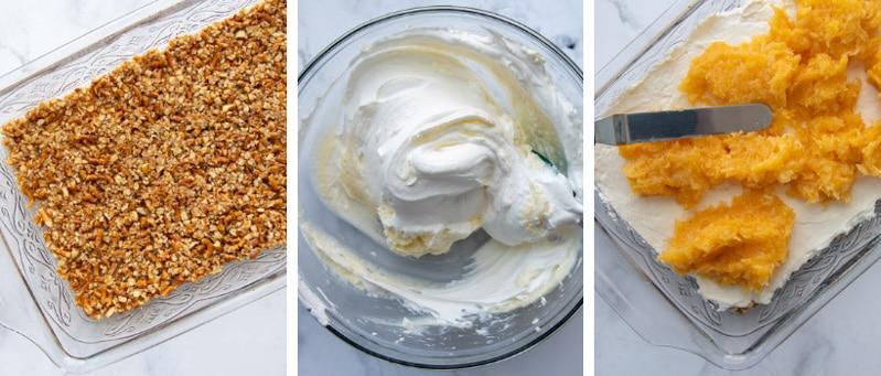 images showing how to make pineapple pretzel salad
