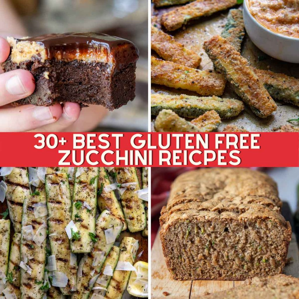 collage of gluten free zucchini recipes including bread, brownies, grilled, and fries