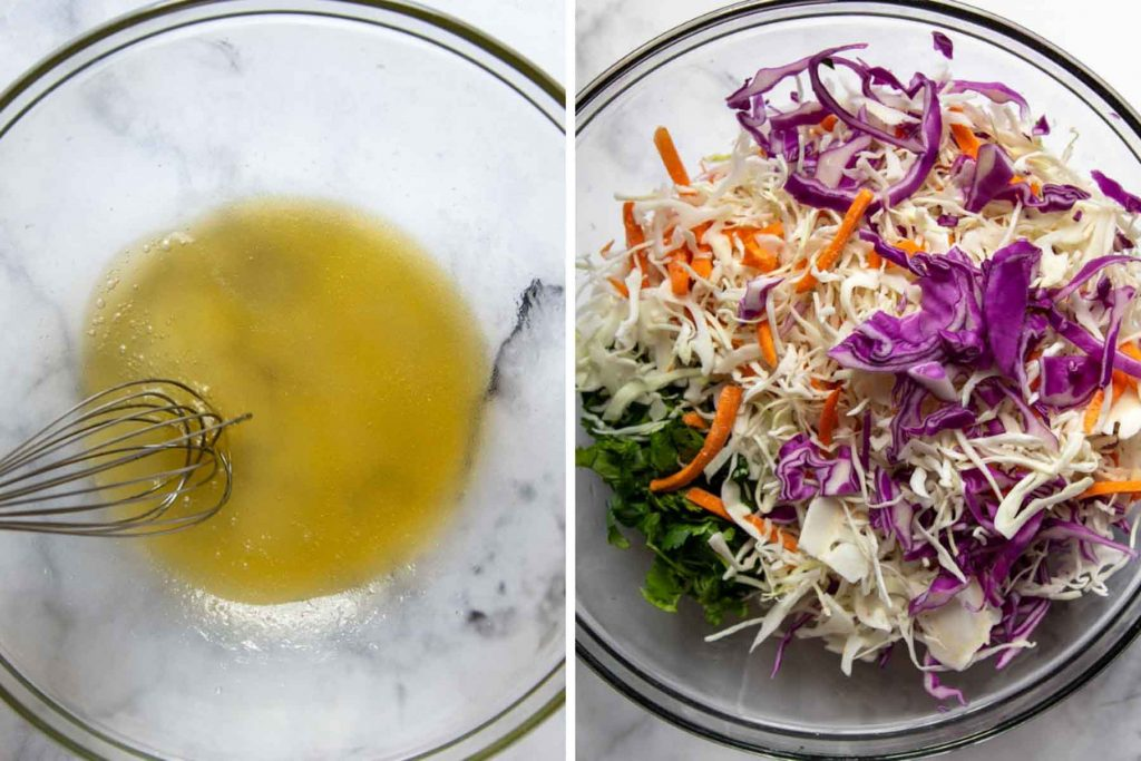 images showing how to make slaw for blackened fish tacos