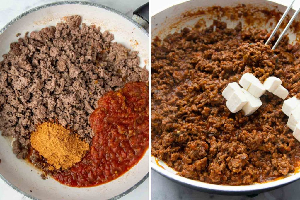 images showing how to make seasoned beef for walking taco casserole