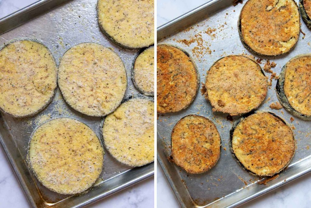 images showing eggplant unbaked with breading and baked