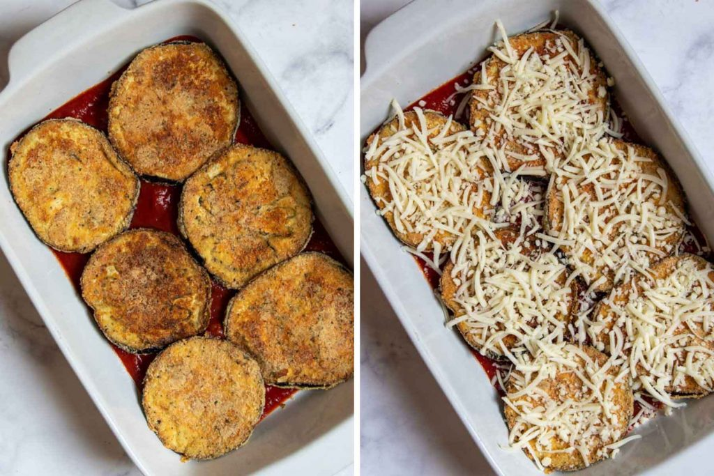 images showing how to assemble low carb eggplant parmesan