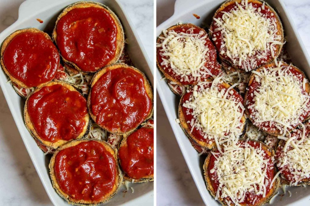 more images showing how to assemble eggplant parm