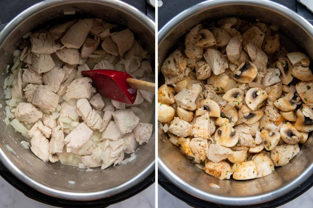 images showing how to make creamy chicken stroganoff in an instant pot