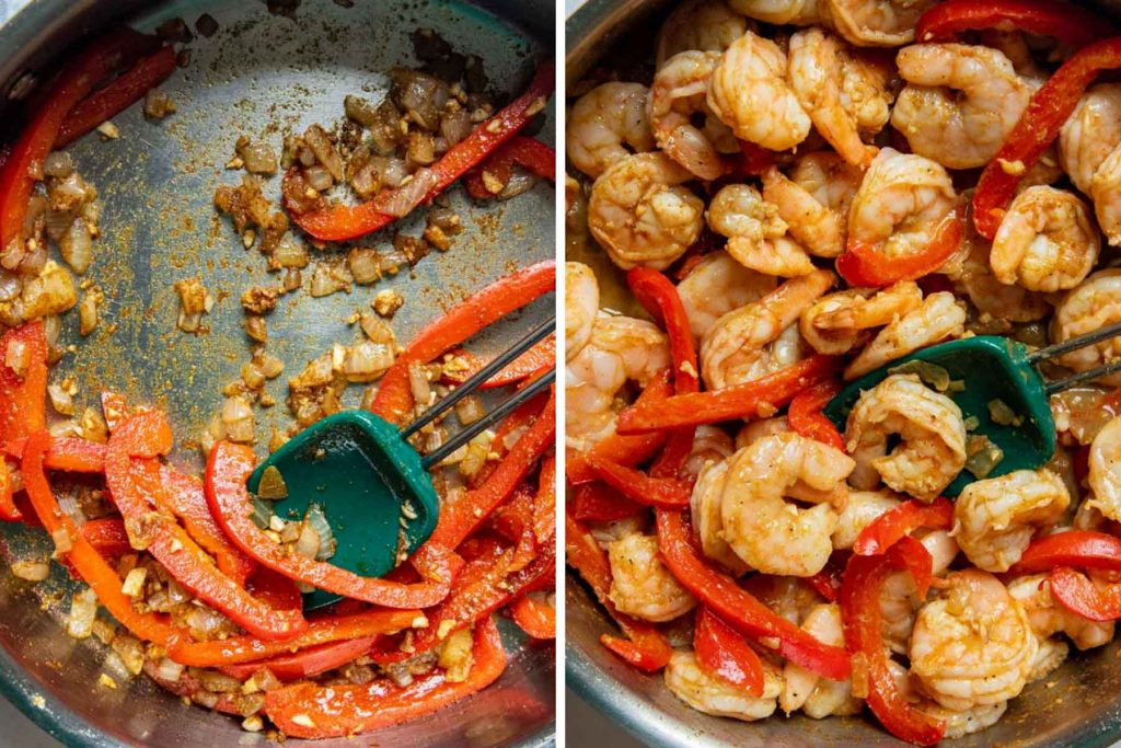 images showing how to make creamy coconut shrimp