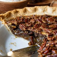 close up of pecan pie sliced into