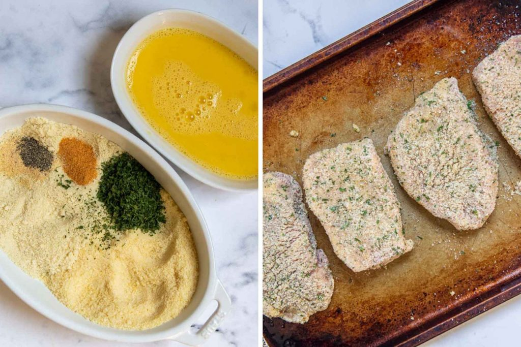 images showing how to make oven breaded pork chops