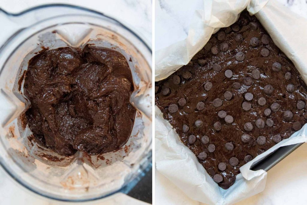 images showing the brownie batter in a blender and in a baking pan
