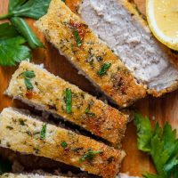 sliced pork chops with low carb breading on it