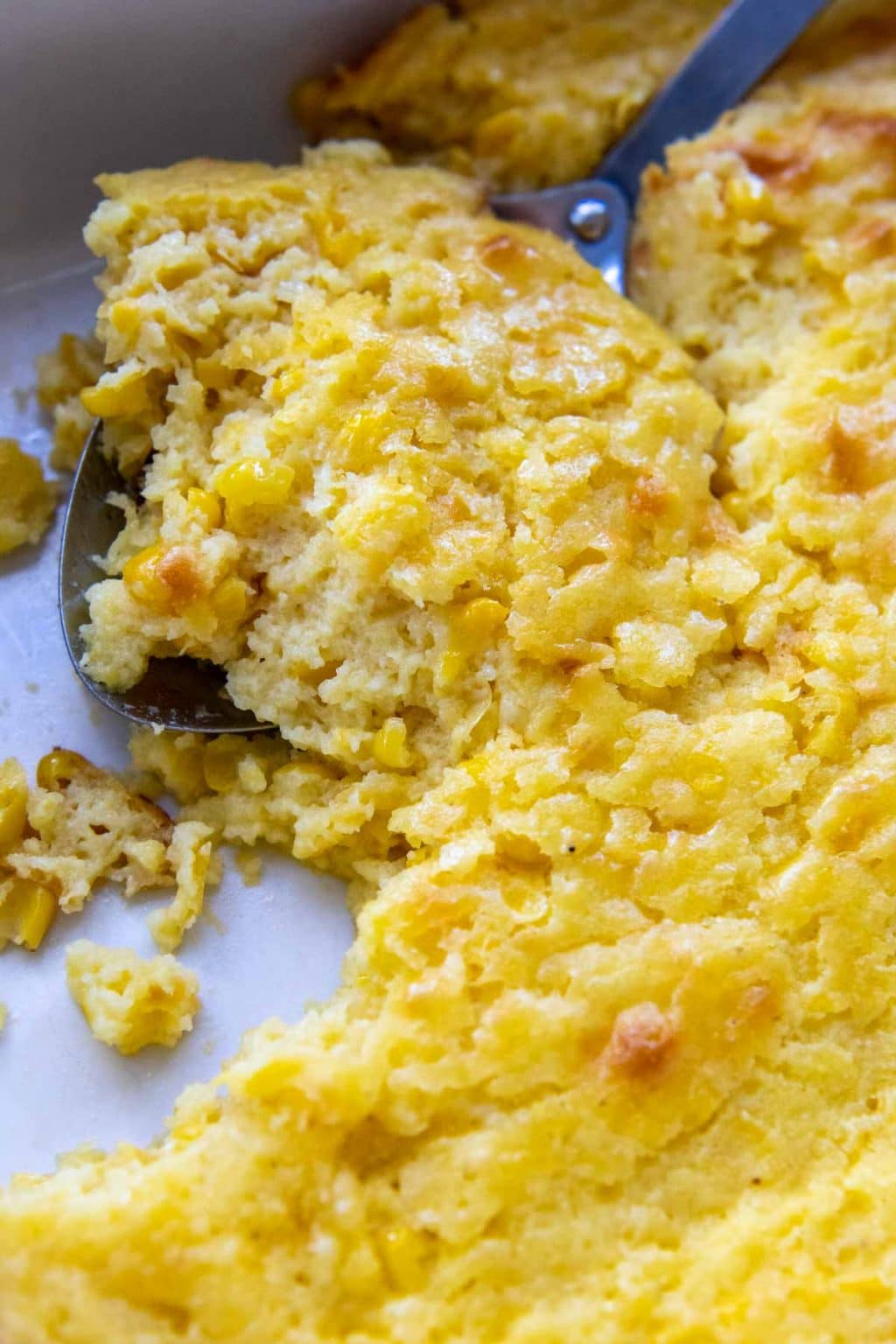 close up of gluten-free cornbread casserole