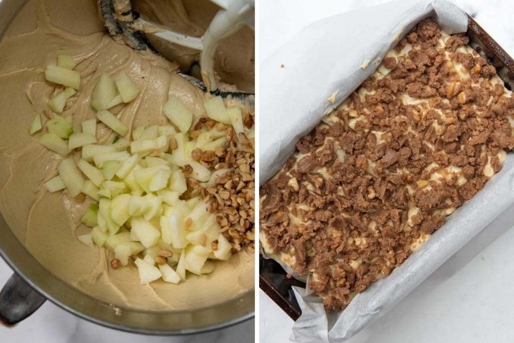 more images showing how to make apple cinnamon loaf