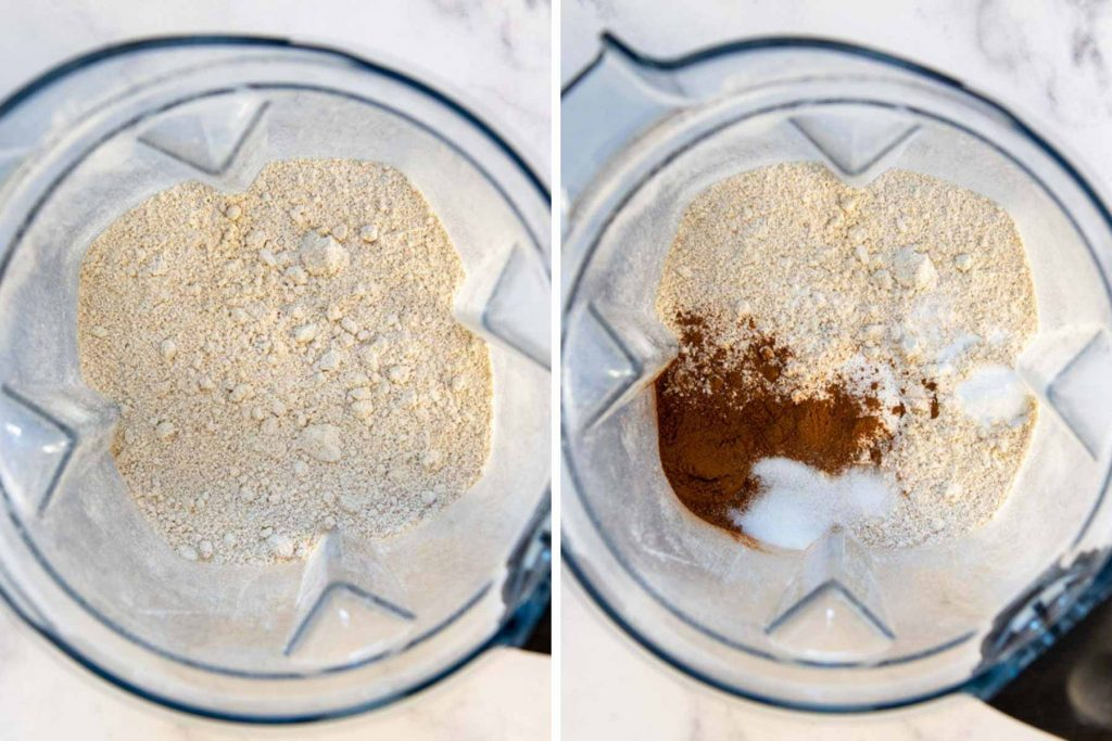 a blender with oat flour and remaining dry ingredients for the pumpkin muffins