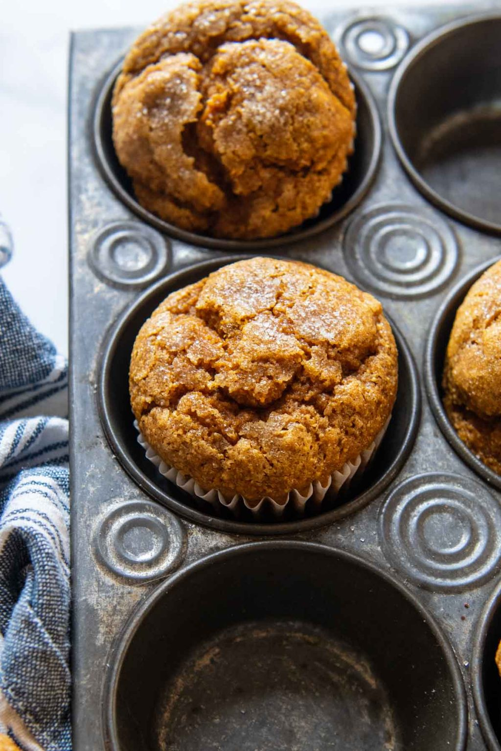 close up of the top of a pumpkin muffin